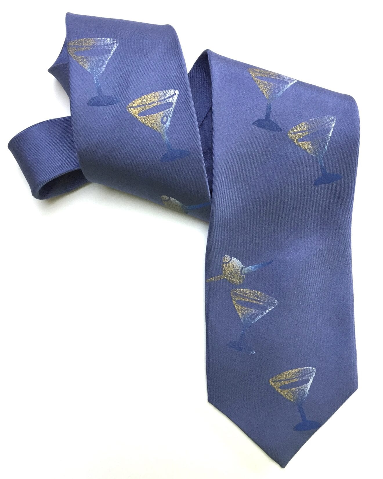 periwinkle tie with martini
